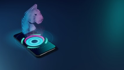 3D rendering neon holographic phone symbol of horse head icon on dark background