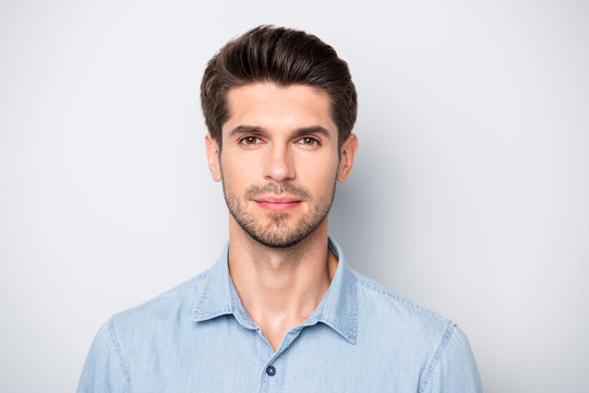 Close up photo of serious minded man entrepreneur stay at work look listen to his partners colleagues wear casual style outfit isolated over grey color background