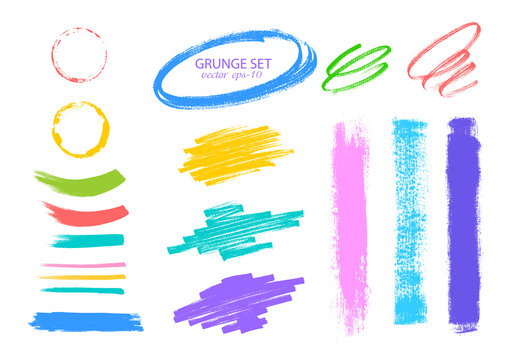 Highlighter and felt pen strokes .Multicolored Brush strokes vector.Textured labels, long banners.Design elements.