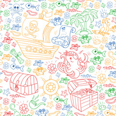 Vector seamless pattern with pirate elements for birthday party for little children. Kids pattern with octopus, beach, treasure chest, ship