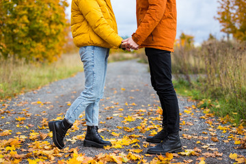 autumn and love concept - close up of young couple posing in autumn park