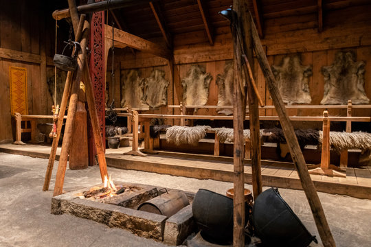 Inside the replica of a furnished viking longhouse