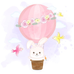 Cute rabbit floating on hot air balloon and birds hand drawn cartoon illustration