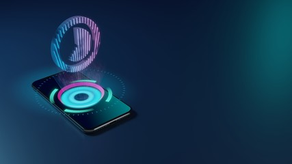 3D rendering neon holographic phone symbol of photo  icon on dark background