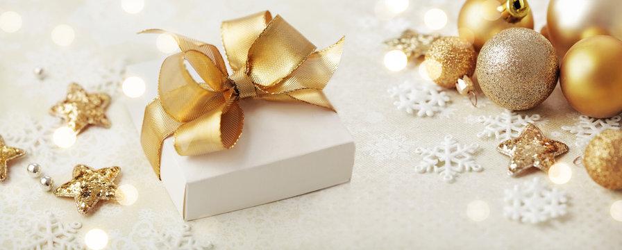 Christmas gift and gold christmas ornaments