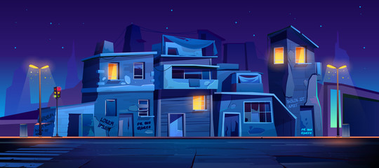 Ghetto street at night, slum ruined abandoned houses, old buildings with glowing windows. Dilapidated dwellings stand on roadside with crosswalk, lamps and traffic lights cartoon vector illustration