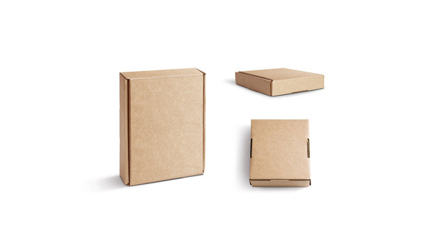 Blank craft corrugated box mock up isolated, stand and lying