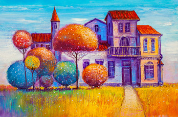 Oil painting of an old mansion with decorative trees.
