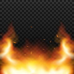 Red Fire sparks vector flying up. Burning glowing particles. Flame of fire with sparks in the air over a dark night. Vector illustration.