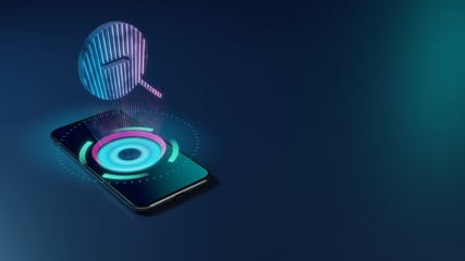 3D rendering neon holographic phone symbol of magnifier zoom out icon on dark background