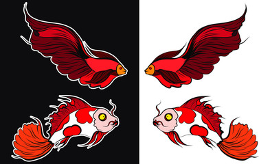 beautiful fish vector.Thai beta fish with cherry blossom vector.Sakura flower with Fighting fish coloring book.