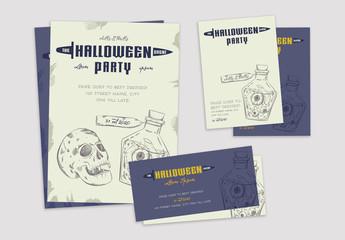 Illustrative Halloween Event Promotion Set Layouts