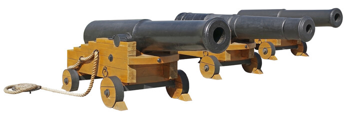 Canvas Prints Ship Old ship cannons on white background