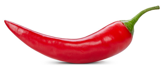 Zelfklevend Fotobehang Hot chili peppers Chili pepper isolated on a white background. One chili hot pepper clipping path. Fresh pepper
