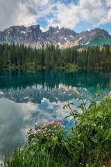 Landscape of Carezza Lake, Dolomites, Italy