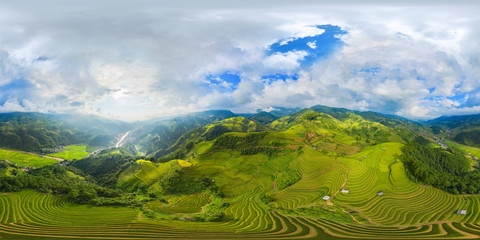 Fotobehang Rijstvelden 360 panorama by 180 degrees angle seamless panorama view of paddy rice terraces, green agricultural fields in rural area of Mu Cang Chai, mountain hills valley in Vietnam. Nature landscape background.
