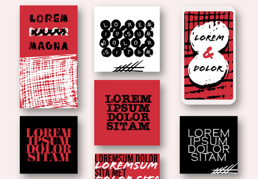 Black and Red Social Media Post Set with Marker Stroke Elements