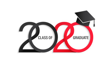 Class of 2020, elegant card in black and red colors for banners, flyers, greetings, invitations, business diaries, congratulations and posters at the prom. Vector illustration.