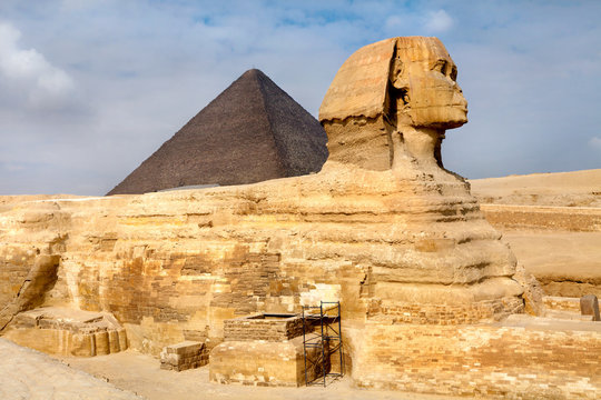View of the Sphinx and Pyramid of Khafre near Cairo city, Egypt
