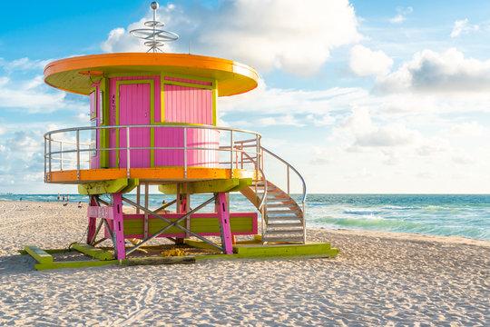 Sunrise with hut on the Miami Beach, Florida, USA