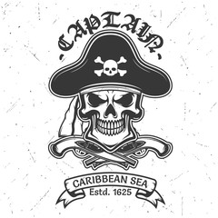 Skull t-shirt print with pirate captain hat, guns