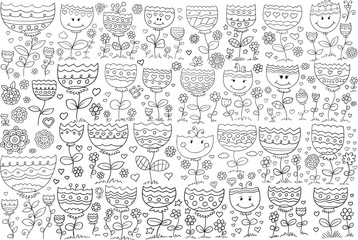 Tuinposter Cartoon draw Doodle Flowers Vector Illustration Art Set