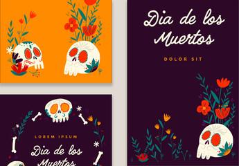 Illustrative Día de los Muertos Social Media Post Layouts