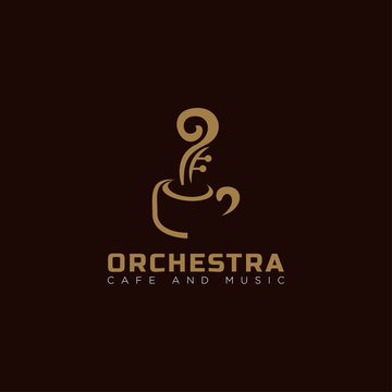 creative logo orchestra, for music and cafe with cup and smoke like a string vector