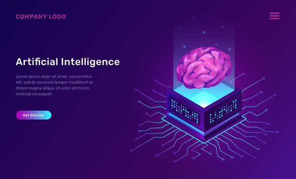 Artificial intelligence or ai isometric concept vector illustration. Virtual human brain over luminous server and connections, future technology icons isolated on ultraviolet banner
