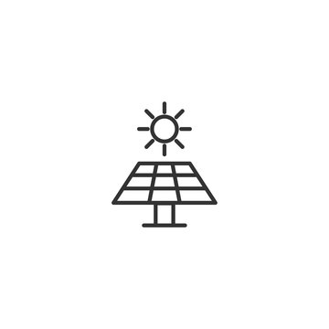 Solar energy panel line icon in simple design on a white background