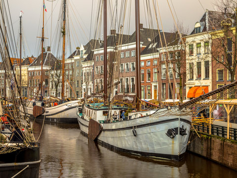 Historic sailing ships Hoge der Aa