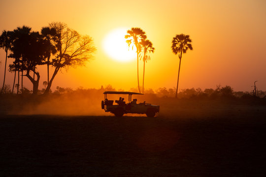 Silhouette of a Safari jeep at sunset
