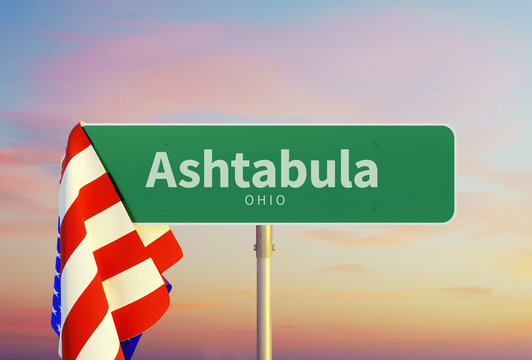 Ashtabula – Ohio. Road or Town Sign. Flag of the united states. Sunset oder Sunrise Sky. 3d rendering