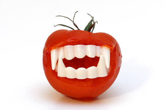 Halloween vampire tomato teeth