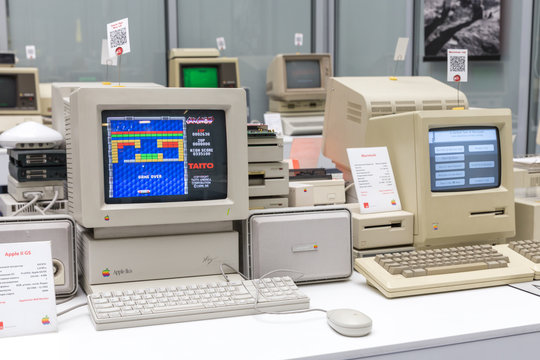 MOSCOW, RUSSIA - JUNE 11, 2018: Old original Apple Mac computer in museum in Moscow Russia