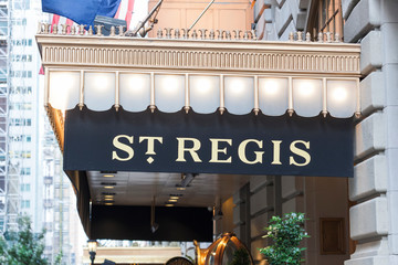 New York, New York, USA - October 10, 2019:  St. Regis Hotel marquee in midtown Manhattan.