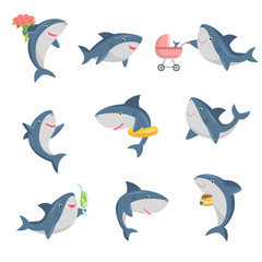 A set of cute cartoon shark in different actions. Vector illustration in flat cartoon style.