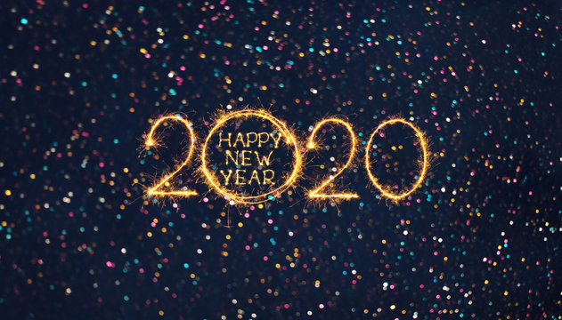Greeting card Happy New Year 2020