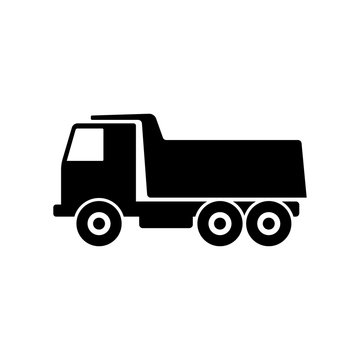 Dump truck icon. Black silhouette. Side view. Vector drawing. Isolated object on a white background. Isolate.
