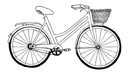 Retro bicycle sketch black liner isolated