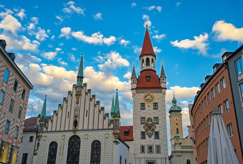 The Old Town Hall located in the Marienplatz in Munich, Germany.