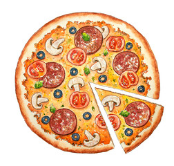 Watercolor Italian pizza. Beef snack with salami, olive,  sausage, cheese, mushroom, bacon and vegetables. Hand drawn fast food. Design for pizzeria, cafe and restaurant. Illustration for menu