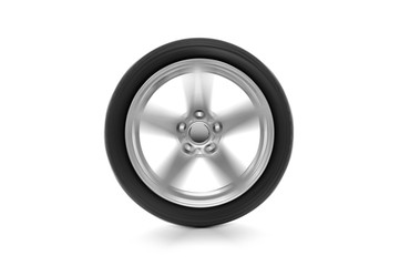 Spinning car wheel isolated on white background.