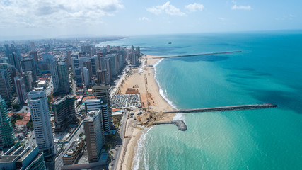 Deurstickers Brazilië Fortaleza, Ceara / Brazil - Circa Octuber 2019: Aerial view over Beira Mar, Fortaleza. Buildings landscape on the shore. Beiramar, Fortaleza.