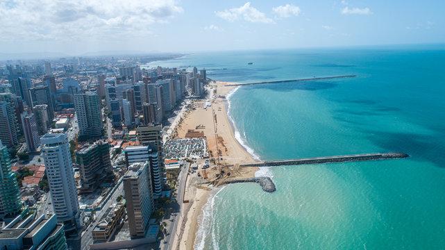 Fortaleza, Ceara / Brazil - Circa Octuber 2019: Aerial view over Beira Mar, Fortaleza. Buildings landscape on the shore. Beiramar, Fortaleza.