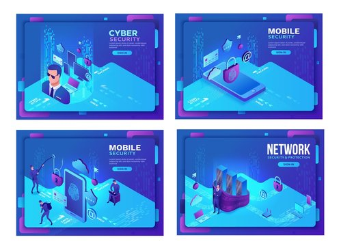 Cyber security 3d isometric vector illustration set, data protection concept, firewall attack, phishing scam, mobile information safety , server safety, smartphone, laptop, computer, bank card