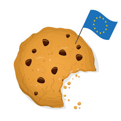 eu cookie law cartoon illustration with bitten cookie and eu flag