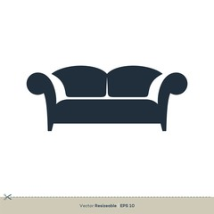 Sofa, Armchair Icon Vector Logo Template Illustration Design. Vector EPS 10.