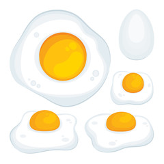 Fried egg. Fired eggs realistic vector illustrations set. Omelet meal and egg. Fried eggs top and side views. Part of set.