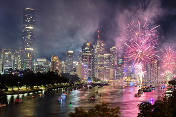 Brisbane Riverfire fireworks display 2019 looking towards the CBD